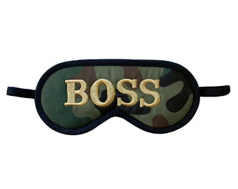 Boss camouflage sleep eye mask, Alpha male blindfold, Army accessories, Embroidered cotton, Dudes handmade, green, brown, old gold, black