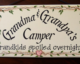 Grandma & Grandpa's Camper Handpainted Sign, Personalized Free!