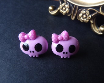 Cute Kawaii Purple Skull Pink Bow Earrings - With Back Stoppers