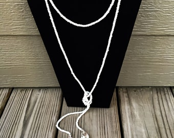 White Wrap Necklace with Chain Tassels I Long Necklace I Beaded Necklace I Wrap Necklace