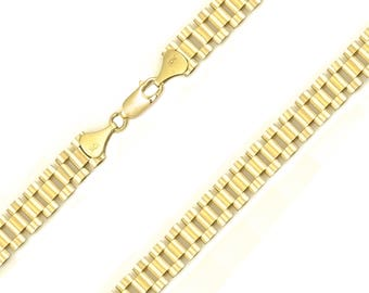 """10K Solid Yellow Gold Rolex Necklace Chain 14.0mm 22-30"""" - Band Link"""