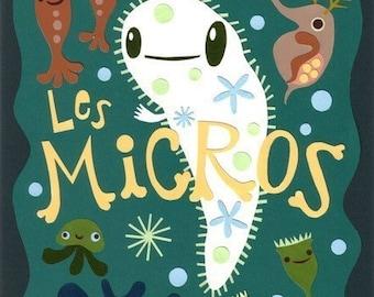 Print: Les Micros - illustration plankton microbe daphnia amoeba paramecium biology green paper cutout art wall decor HineMizsuhima 水島ひね