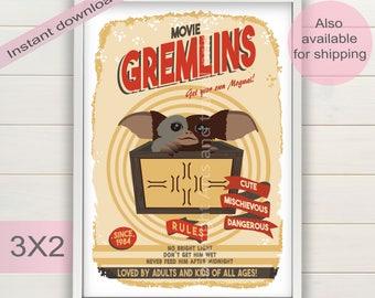 Gremlins movie poster   Vintage style Gremlins & Gizmo art   Film printable   Mogwai print   Digital instant download gift   Christmas card