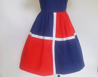 Vintage 50s fit and flair color block dress blue red and white