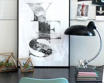 YES art print - Faunascapes TYPE collection by WhatWeDo