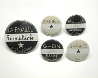 1 magnet 56 mm + 4 magnets 37mm customizable - the great family - charcoal and Beige