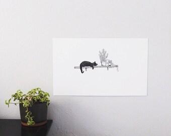 Cat Nap Print        (ink pen, plants, cat lover, freehand sketch)