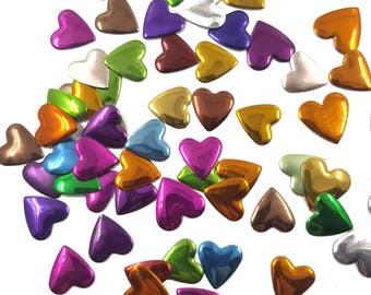 Colorful Mix of Metallic Iron On Hearts Studs, Hot Fix Hearts Studs Appliques 100 pcs