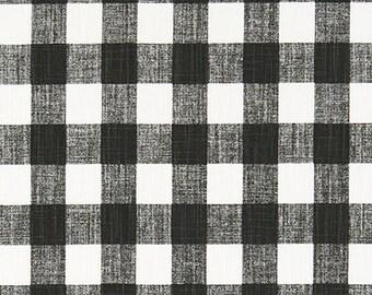 Black and White Plaid Medium Check Fabric by the Yard Designer Slub Cotton Drapery Curtain Craft Home Decor Upholstery Fabric M172