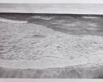 "Graphite drawing ""Strength of sea"""