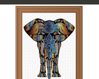 Elephant Print, Elephant Art , Safari Decor, Batik Wall Art, Elephant Print Art, Animal Art Print, Instant Download Printable Art