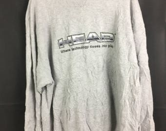 HEAD Long Sleeve Sweatshirt Pull Over 4L Size With Big Embroidered Spell Out Logo