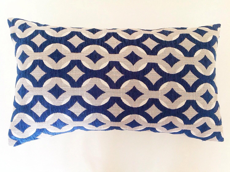 Lumbar Pillow Cushion Natural Chenille Jacquard Navy Lumbar