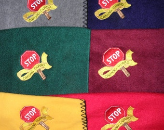 Ready to Ship School Crossing Guard Scarf Fleece Embroidered Warm and Cozy Ready to Ship