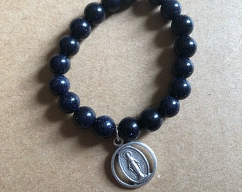 Cut Out Miraculous Medal, Navy Goldstone Beads