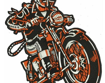 Giant Devil Biker Iron On Back Patch - Motorcycle Cycle Chopper Vest Leather Jacket Gasser Rockabilly Psychobilly Greaser Lowbrow Art