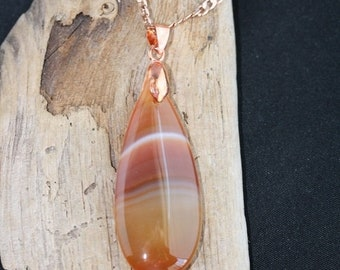 Spring Into Summer Sale - Red Line Agate Rose Gold Necklace - Item 1375