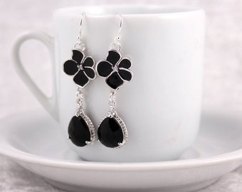 Black Orchid Silver Earrings