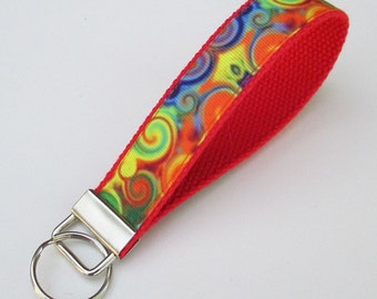 Swirls of Color Lanyard Keychain for Women, Cool Lanyards for Women, Swirls of Color Keychain Lanyard, Cute Wristlet Lanyard, Cute Key Fobs