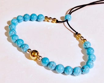 14k gold beads turquoise bracelet