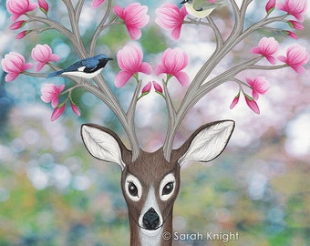 white tailed deer, black throated blue warblers, & magnolia blossoms, signed art print 8X10 inches - Sarah Knight, birds pink flowers spring