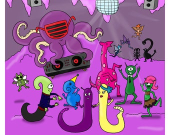 """Party Time - Illustration Print from """"Ruler of Space"""" Children's Book"""