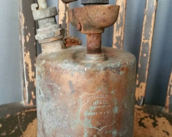 Industrial Brass Torch/Clayton and Lambert/Great Patina/Display Piece/Industrial/Steam Punk/Upcyle Lamp Project/Vintage 1930s/Halloween Prop