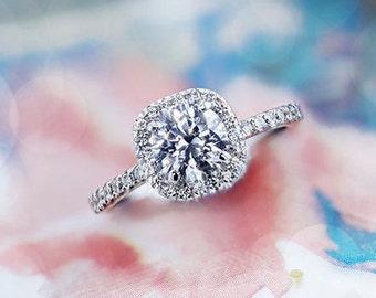 Engagement Ring, 2.31  Carat Halo Diamond Engagement Ring, 14K White Gold, Halo Wedding Ring, Halo Ring, Pave Diamond  Ring, Pave Ring