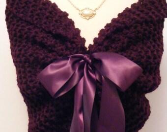 Purple Shawl/Wedding Shawl/Knit Shawl/Bridal Cape/Purple Wedding/Bridal Shawl/Fall Wedding/Wedding Shrug/Bride Bolero/Purple Shrug/Shawl