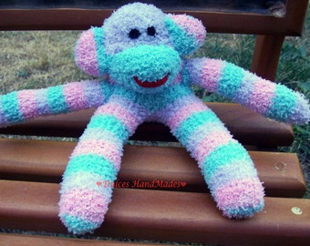 Tiny sock monkeys doll toys baby handmade aqua green pink  lavender and white