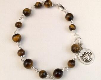 Tiger Eye Bracelet with Lotus Tag