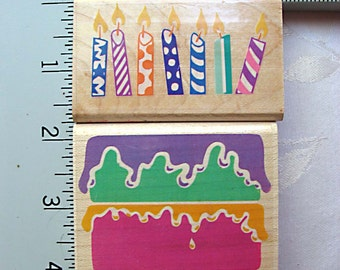 RARE Posh Impressions Birthday Cake and Candles Set of 2 Rubber Stamps DESTASH, Rubber Stampede, candle city, icing on the cake
