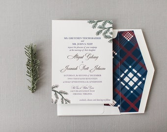 Abby & JJ's Letterpress winter plaid wedding invitation and save the date - SAMPLE