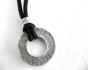Circle Pendant, Rugged Men Style Jewelry, Oxidized Metal, Silver Plated, Masculine Jewelry, Unique Necklace, Choker