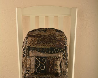 Black Italian quilt Backpack