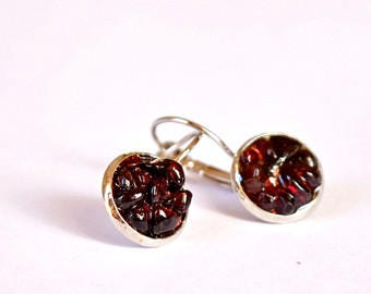 Red garnets earrings, Red Dangles Garnet jewelry Burgundy red gemstone gift Resin Jewelry Crimson earrings feminine woman gift for Christmas