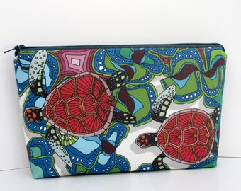 Sea Turtles Make Up Cosmetic Zipper Pouch, Red Sea Turtles, Ocean Animal Bag