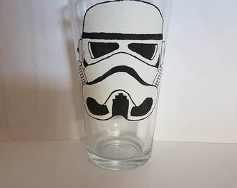 Hand painted storm trooper pint glass