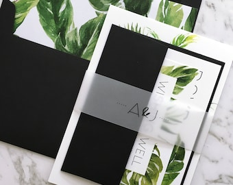 Wedding Invitation | Tropical Wedding Invitation Suite | Tropical Invitation | Palm Leaf | Monstera | Banana Leaf | Printed | Avalon