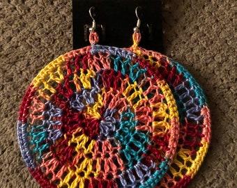 Tie Dye Crochet Hoops