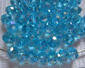 25  Aqua Blue AB Faceted Rondelle Crystal Beads   4mm x 6mm