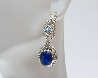 Use Code NEXT0RDER to get 10% off+ Free Shipping- Lapis Earrings, Lapis Lazuli Jewelry, Blue Topaz Earrings, Sterling Silver Dangle Earrings