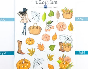Fall Fashion Deco | Planner Stickers, Weekly Kit, fall leaves deco, fall Weekly Kit, pumpkin deco, Vertical Planner Kit, Full Weekly Kit