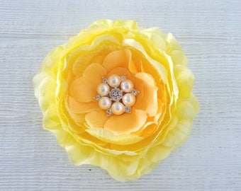 Large Yellow Hair Clip, 5 inch Hair Clip, Yellow Flower Clip, Flower Girl Hair Clip, Easter Hair Clip, Flower Clips, Yellow Hair Clips