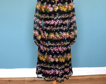 Vintage 70's Black Floral Print Dress UK Size 10