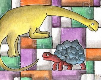 Mondrian dinosaur tortoise children's decor wall art miniature art Whimsical - Original ART POSTCARD 4 x 6 Inch Watercolor - Katie Hone
