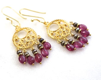 Pink Sapphire, Freshwater Pearl Gold Vermeil Chandelier Earrings...