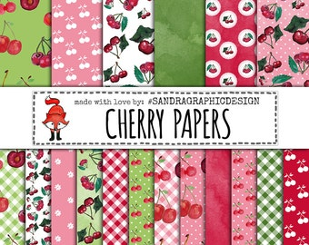 "Cherry digital paper ""CHERRY PAPERS"", cherries, fruit digital paper, gingham pattern, polka dot (1257)"