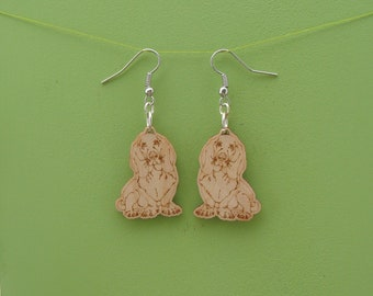 Basset Earrings dog wood wooden gift for her jewelry hound dog earrings basset earrings dog earrings wooden earrings hound earrings