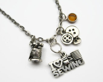 I Love Sewing Necklace, Seamstress Jewelry, Personalized Birthstone Necklace, Tailor,  Fabric Quilt, Quilter Neckace, Choose Your Length